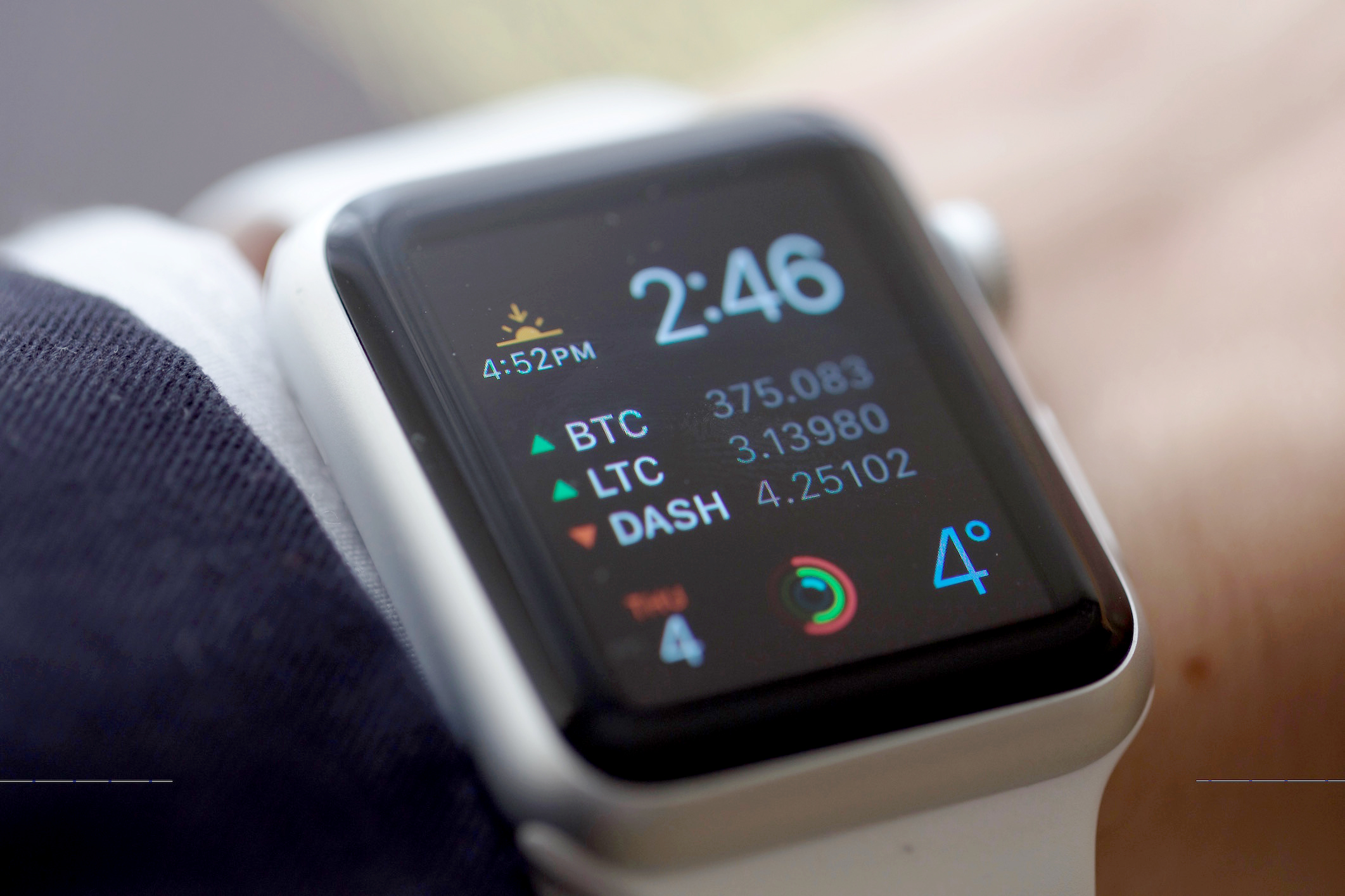 Modular Face with Bitcoin, Litecoin, Dash Complication on Apple Watch