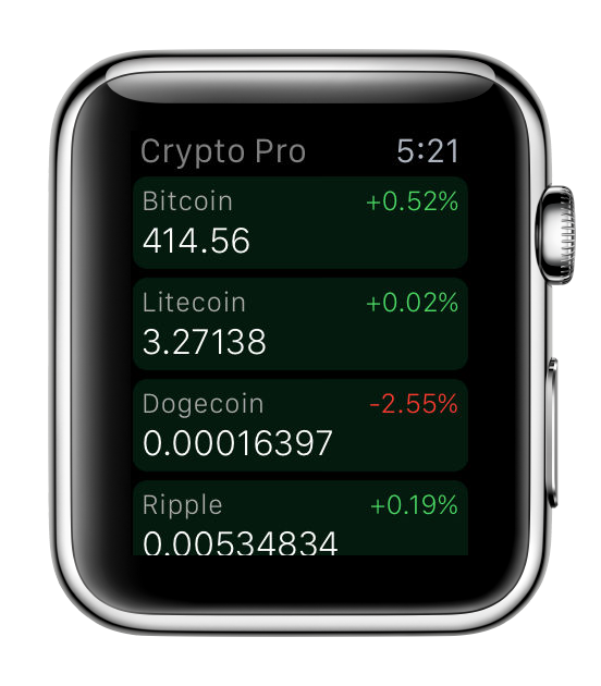 Altocoins on Apple Watch